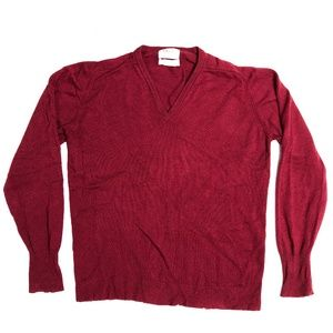 Ovris Red Men's V Neck Sweater 2 Ply Cashmere XL